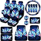 19 Pieces Car Seat Covers Blue Butterfly Front Rear Seat Covers Steering Wheel...