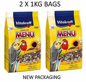 Vitakraft Menu Cockateil perruche Cage à oiseaux complète Sac de graines de nourriture 1kg X 2