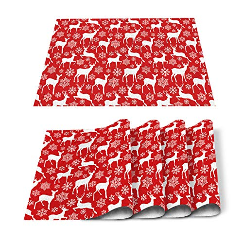 LooPoP Place mats Set of 4 for Kitchen Round Dining Table Waterproof Merry Christmas Washable Non-Slip Table Mats Natural Linen Reindeer Snowflakes Happy New Year