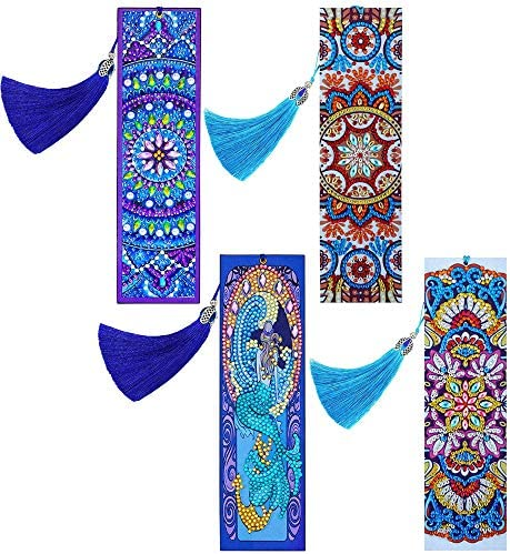 4 Pieces 5D Diamond Painting Bookmarks Creative Leather Tassel Bookmark DIY Beaded Bookmarks product image