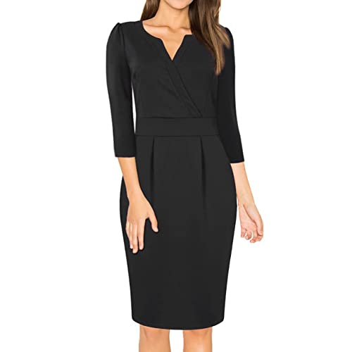 MISSKY Women s V-Neck Work Business Bodycon Pencil Dress 1a0798334