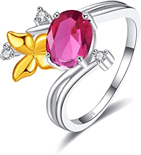 PAKULA Silver Plated Women Simulated Ruby Spinel 2 Tone Bypass Band Ring