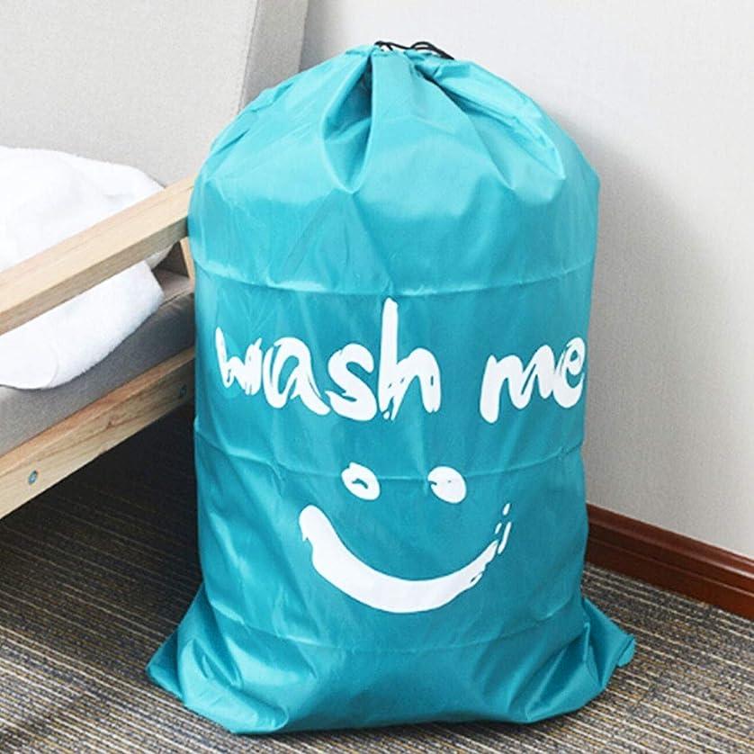 話グラスドラゴンホーム&ガーデンアクセサ ホームキルト服旅行ナイロンドローコードスマイルフェイスパターンアレンジストレージバッグ (色 : Blue)