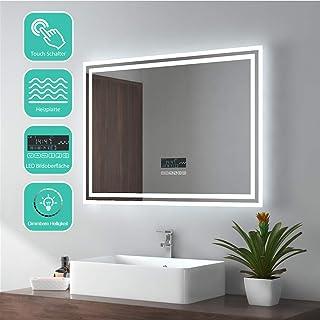 EMKE Espejo de Baño Espejo de baño Espejo LED Espejo de Pared con Interruptor Táctil+Antivaho+Altavoz Bluetooth 4.1,IP44,67W,Blanco Frío(80x60cm)