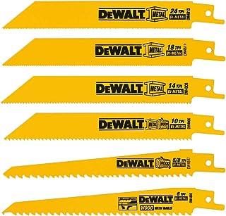 DEWALT Reciprocating Saw Blades, Metal/Wood Cutting Set, 6-Piece (DW4856),Metallic