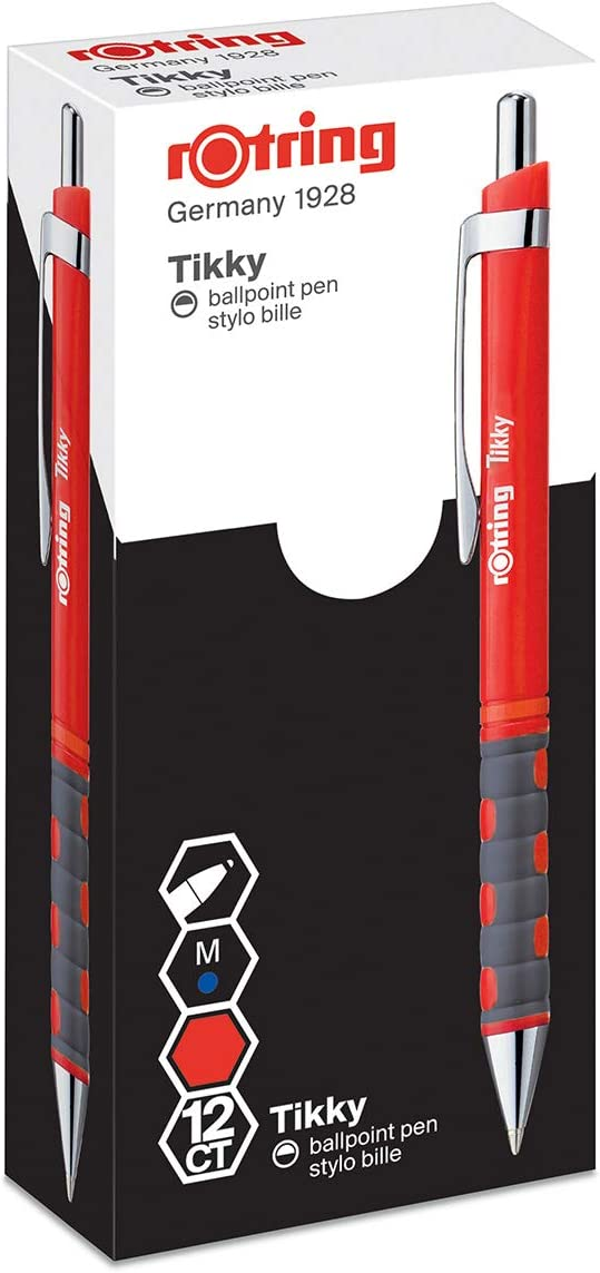 rOtring 1904629 Tikky Lightweight Ballpoint Pen with Rubberised Grip Pack of 12 Black Barrel