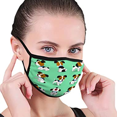 ZCQF0DEFJA Polyester Half Face Mouth Maks Outdoor Cartoon Character Jack Russell Terrier Dog Set Design Beautiful Half Face Shield