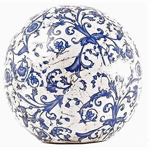 linoows Rosenkugel, Landhaus Gartenkugel mit Barockmuster in Blau 18 cm.