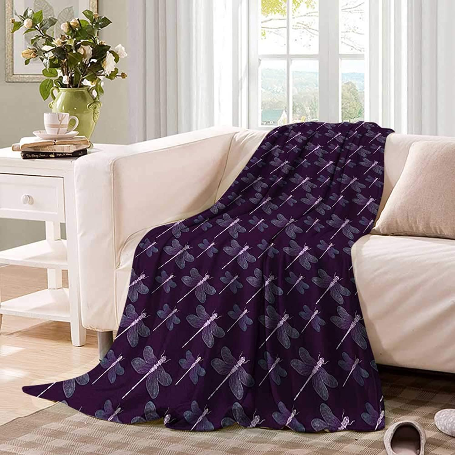 Dragonflyfluffy blanketTropical Insect with Artistic Ornate Wings on Dark Purple Backdropbed Blanket 60 x50  Dark Purple Aqua purplec
