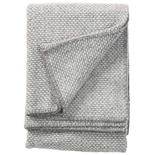 Klippan Decke, Überwurf aus 100% Schafwolle, Motiv: Domino, 130x 180cm, Wolle, hellgrau, 180x130x0.5 cm