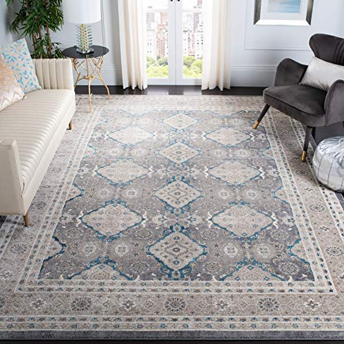 Safavieh Sofia Collection SOF366B Vintage Oriental Distressed Non-Shedding Stain Resistant Living Room Bedroom Area Rug, 8' x 10', Light Grey / Beige