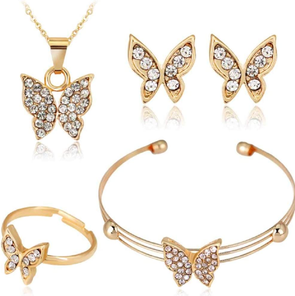MERSDW Hot New Necklace Set Fashion Exquisite Ladies Personality Alloy Diamond Necklace + Earrings + Ring + Bracelet Four-Piece Bridal Wedding Jewelry Accessories (P)