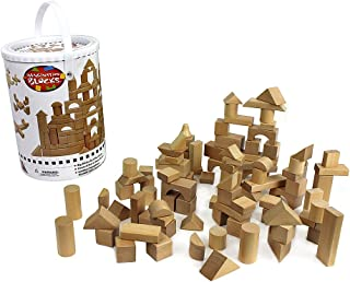 Wooden Blocks - 100 Pc Wood Building Block Set with Carrying Bag and Container (Natural Colored) - 100% Real Wood