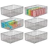 mDesign Juego de 6 cajas multiusos de metal – Caja organizadora multifunción para cocina, despensa u oficina – Cesta de almacenaje de alambre, compacta y metálica con diseño de rejilla – gris oscuro