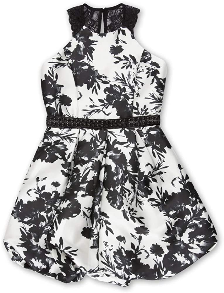 Speechless Girls' Big Circle Neck Pleated Party Dress