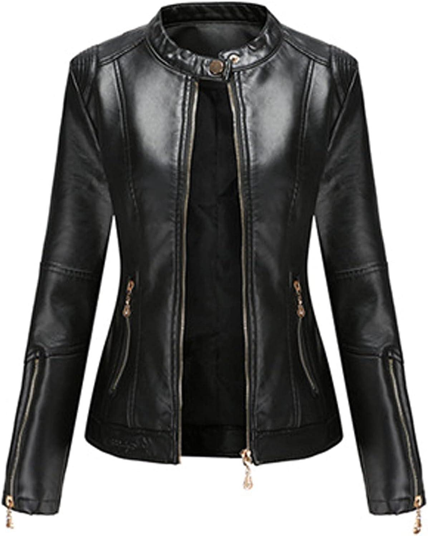 NIDOV Womens Popularity Leather Sweater El Paso Mall Jacket Biker Moto Zipper Co Cropped