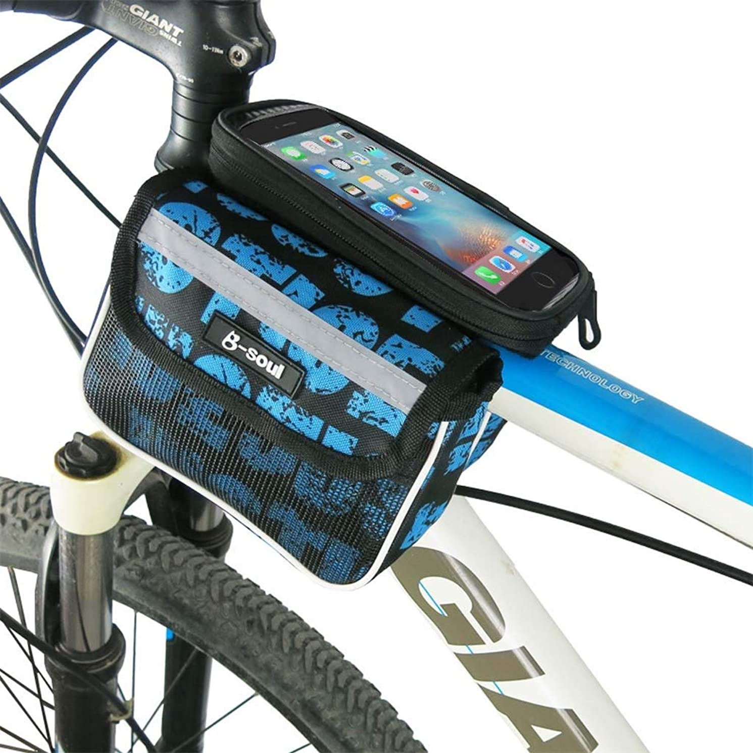 Cloud Bike Frame Bag, Bicycle Phone Mount Cycling Front Top Tube Pouch Frame Phone Holder Bag Pannier (Color : Blue, Size : 5.5 inches)