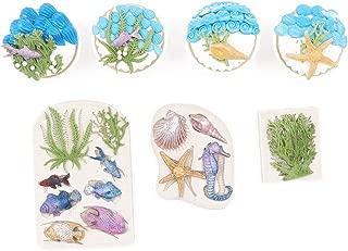 kowanii Seahorses Seashells Fondant Silicone Molds, Fish, Seaweed and Coral Silicone Cake Mold, Cookies Cupcake Decorating Supplies Sugarcraft Tools Gumpaste Baking Molds, 3 Pack