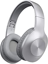 Bluetooth Headphones, Letscom Wireless Headphones Over Ear with Hi-Fi Sound Mic Deep Bass, 100 Hours Playtime and Soft Memory Protein Earpads for Travel Work TV PC Cellphone -Silver