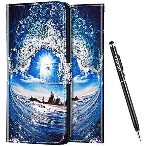 Uposao Kompatibel mit Samsung Galaxy S9 Hülle Leder Handyhülle Glitzer 3D Bling Strass Diamant Wallet Hülle Klapphülle Brieftasche Schutzhülle Flip Case Magnetisch Kartenfach,Ozean