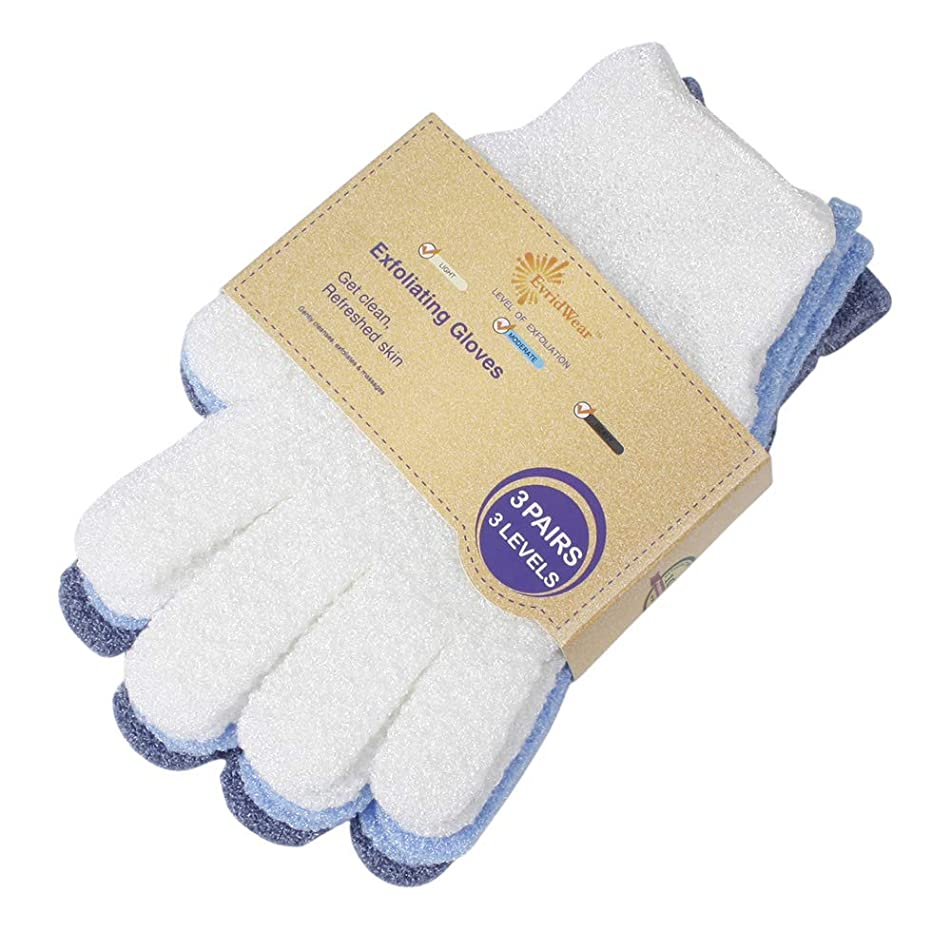 EvridWear Exfoliating Dual Texture Bath Gloves for Shower, Spa, Massage and Body Scrubs, Dead Skin Cell Remover, Gloves with hanging loop (3 Pairs)