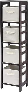 Winsome Wood Capri Wood 4 Section Storage Shelf with 4 Beige Fabric Foldable Baskets