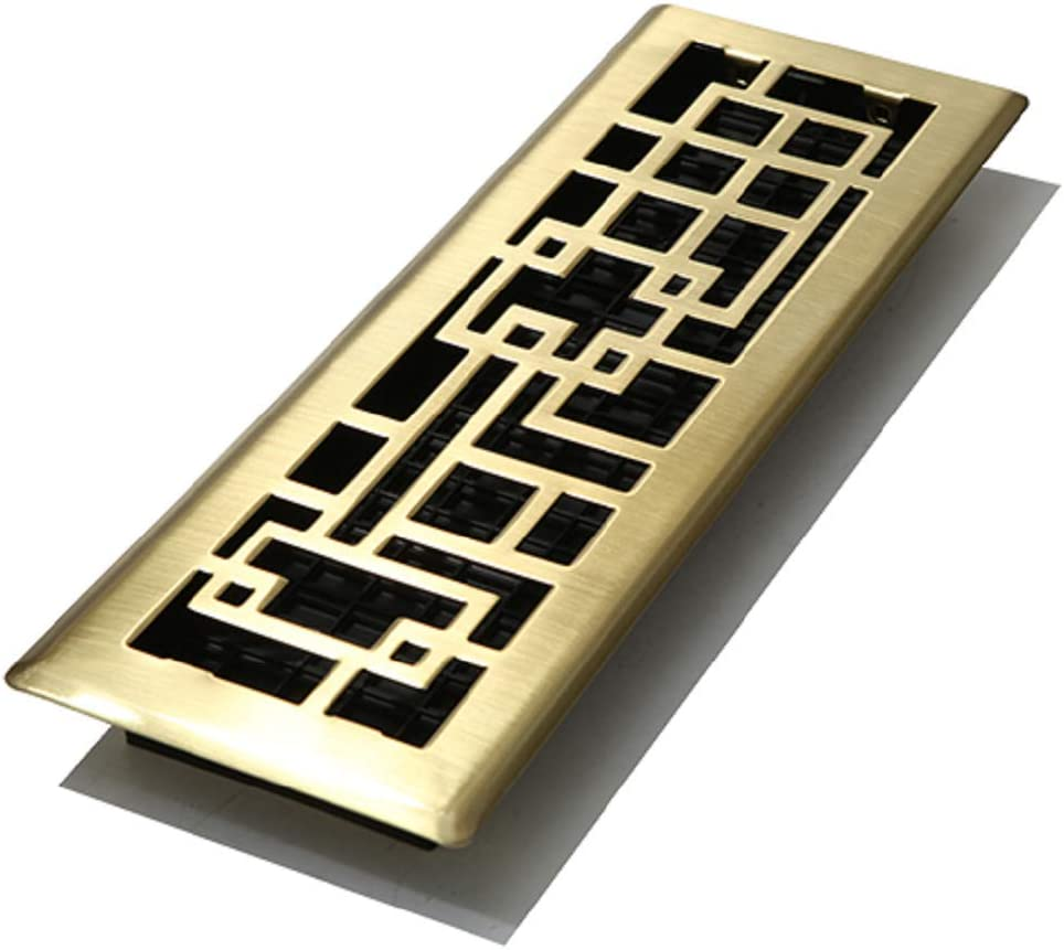 Decor Grates ABH414-SB Abstract Floor Register, Satin Brass Finish, 4-Inch by 14-Inch