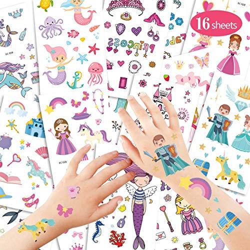 YEFIDER 16 Blatt Meerjungfrau Kinder Tattoos, Prinzessin Temporäre Tattoos Wasserdicht Aufkleber, Mädchen Kindergeburtstag Party