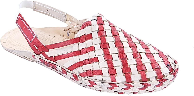 KOLHAPURI CHAPPAL Original Noticeable Look Designer's Cherry red and Natural mat Style Ladies Kolhapuri Half shoes Slipper Sandal