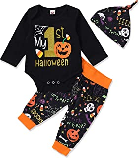 Mikrdoo 4Pcs Set My First Thanksgiving Outfit Toddler Baby Long Sleeve Romper Tops+ Pants + Hat + Headband Clothes Set