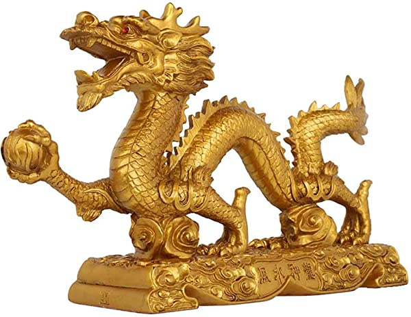 CFJKN Wealth Dragon Statues Chinese Oriental Feng Shui Sculpture Decor Prosperity Brass Dragon Sculptures Office Living Room Decoration Gold 33x7 5x18 5cm