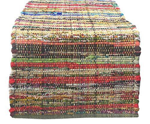 Chardin home Eco friendly Rainbow Multi Chindi table runner. (13''x72'')