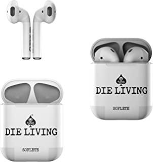 Skin Decals for Apple AirPods - SOFLETE Die Living White - Sticker Wrap Fits 1st and 2nd Generation