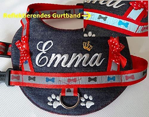 Hundegeschirr S M mit reflektierendem Gurtband Brustgeschirr Wunsch bestickt Jeans rot