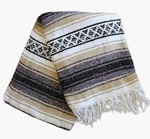 Del Mex Classic Mexican Blanket Vintage Style (Tan)