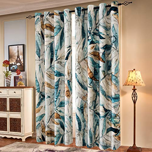 Subrtex Printed Curtains Blackout for Bedroom Living Room Kids Room Dining Room Valance Colorful Window Drapes 2 Panel Set (52'' x 84'' , Blue)