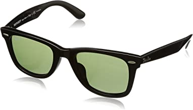 RAY-BAN RB2140F Original Wayfarer Asian Fit Sunglasses, Black/Green Polarized, 52 mm