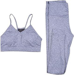 FRAUIT Tuta Sportiva Donna Due Pezzi, Yoga Set Completo Pantaloni Tuta + Reggiseno Leggings Donna Fitness Vita Alta Push U...
