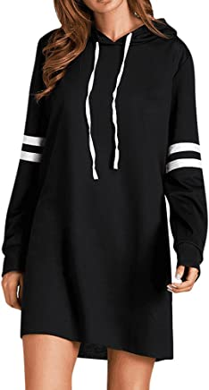 7f48007fff3 Covermason Femme Robe Sweat à Capuche Pull Robe Col Rond Manches Longue Pull  Tunique Casual Sweat