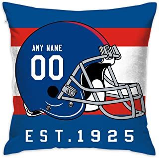 bugat Beige Cotton Blend Linen Square Decorative Throw Pillow Covers - Indoors or Outdoors Cushion Cases (NY.Giants, 18