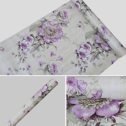 Yifely Vintage Purple Peony Self-Adhesive Kitchen Shelf Drawer Liner Moisture Proof PVC Mat 45x300cm