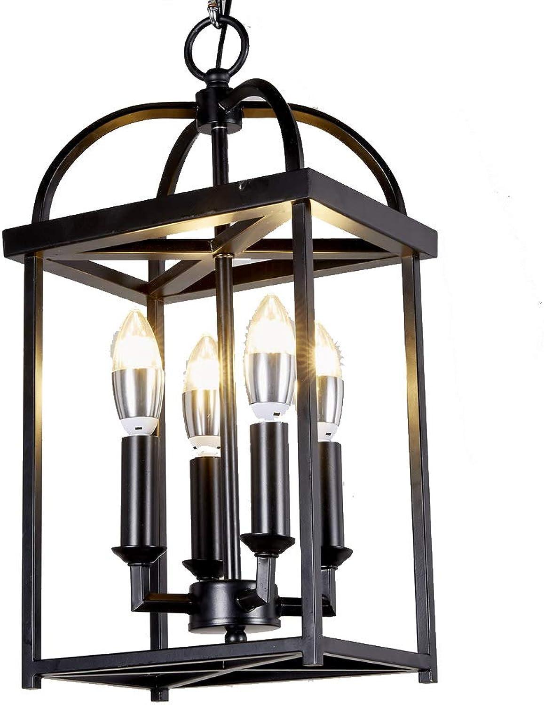 New Legend Lighting Antique Black Finish 4-Light Hanging Lantern Iron Frame Pedant Chandelier