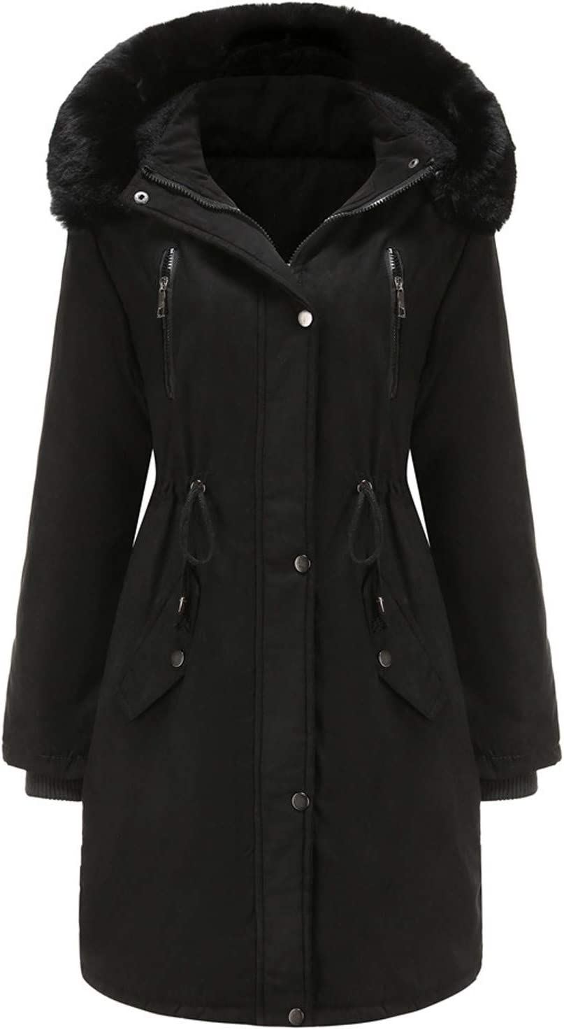 Women Winter Warm Thickened Jacket Easy-to-use Fur Coll overseas Detachable Faux Hood