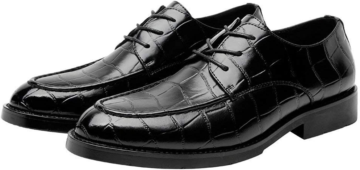 Hhgold 2018 Men PU Leather shoes Square Texture Upper Lace up Breathable Business Low Top Lined Oxfords (Loafers Optional) (color  Loafers, Size  37 EU) (color   Loafer Blk, Size   41 EU)