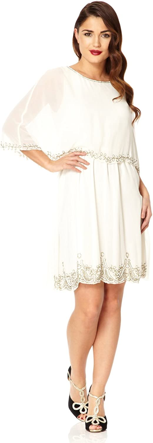 Gloria Vintage Inspired Cape Dress in Off White