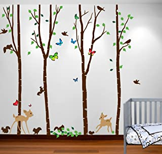 Innovative Stencils 1221 (96) Birch Tree Forest Set with Deer, Flying Birds, Bambi and Squirrels Baby Giant Wall Sticker Decal, 8-Feet