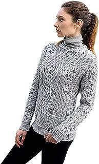 Ladies 100% Irish Merino Wool Cable Crew Sweater with Pockets