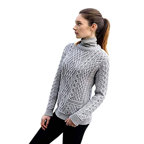 af6054cbf19ef6 Ladies 100% Irish Merino Wool Cable Sweater with Pockets by West End  Knitwear