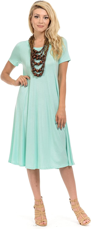 Short Sleeve A-Line Paneled Midi Dress Olive