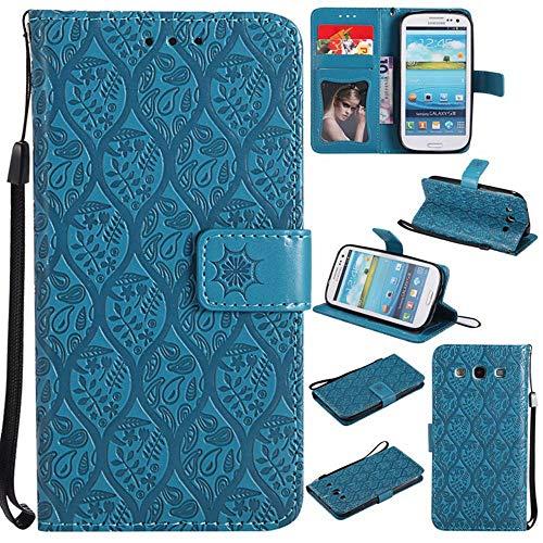 tinyue Per Samsung Galaxy S3 (i9300 4.8 Pollice) / Galaxy S3 Neo Cover, Custodia a Portafoglio Ultra Sottile in Pelle PU, Design Fibbia Magnetica, Custodia Rattan Goffrata 3D, Blu